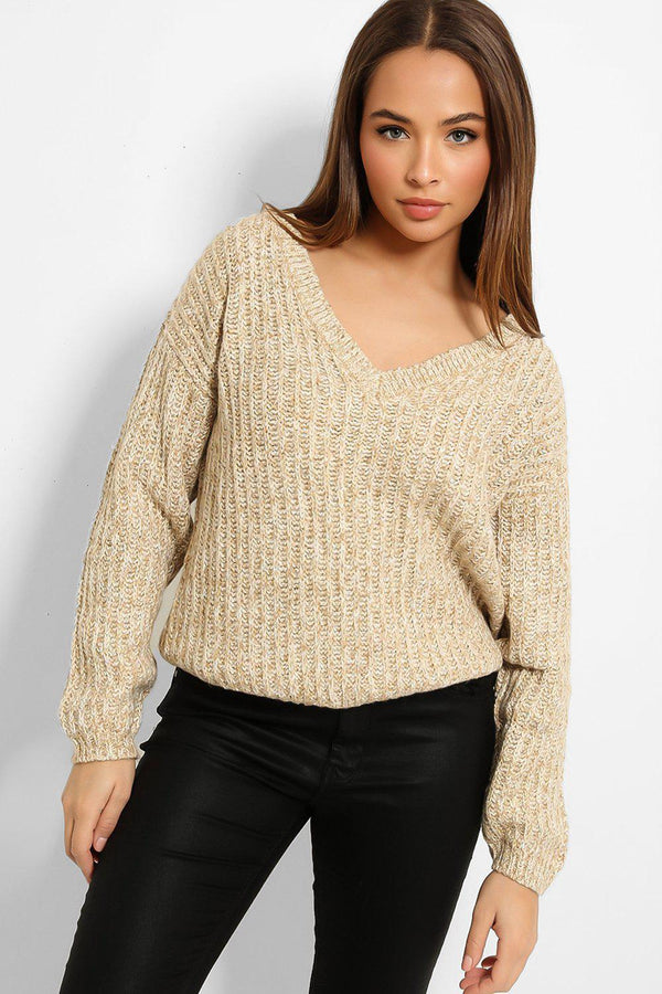 Beige White Speckled Exaggerated Rib Knit V-Neck Pullover-SinglePrice