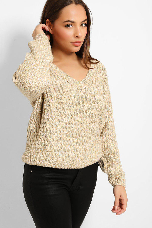 Beige White Speckled Exaggerated Rib Knit V-Neck Pullover