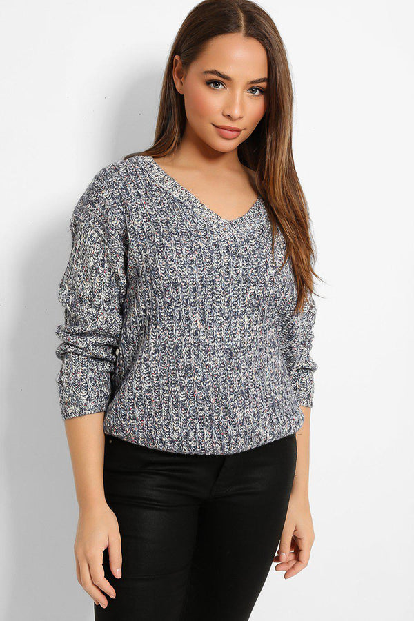 Navy White Speckled Exaggerated Rib Knit V-Neck Pullover