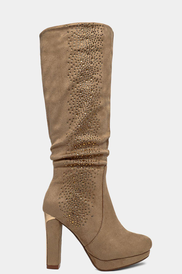Beige Encrusted Vegan Suede Ruched Knee High Boots - SinglePrice