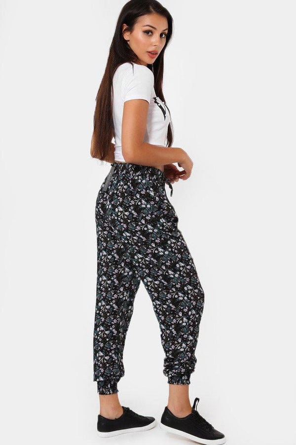 Small Floral Print Navy Leisure Trousers