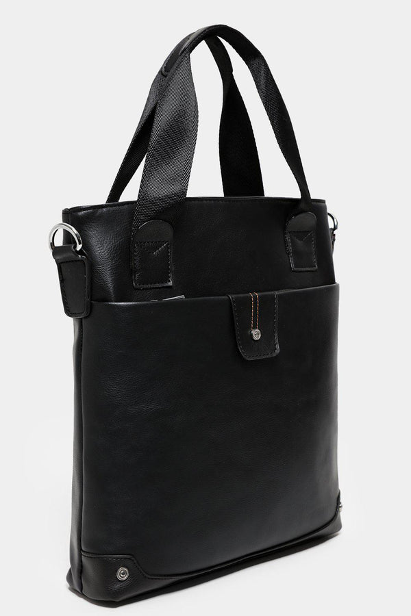 Silver Hardware Black Tall Messenger Bag-SinglePrice