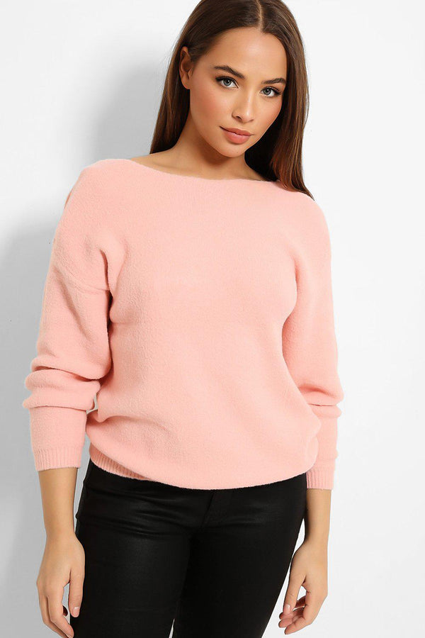 Pink Cut Out Bows Back Super-Soft Knit Pullover