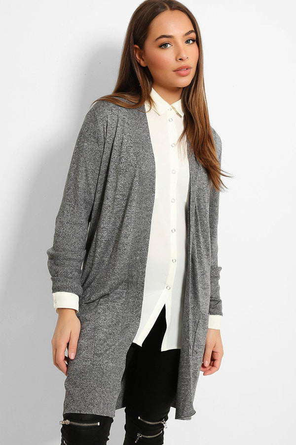 Grey Ribbed Trims Lightweight Knit Cardigan-SinglePrice