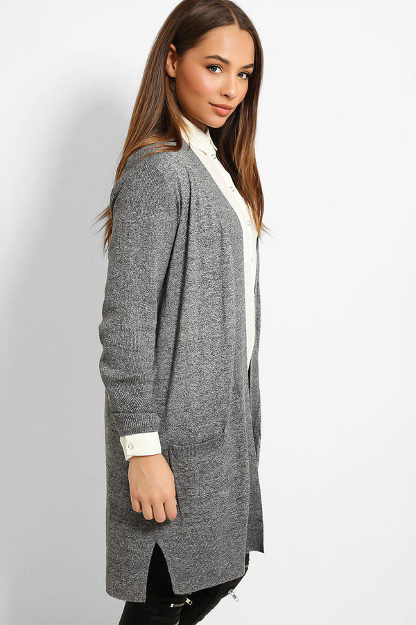 Grey Ribbed Trims Lightweight Knit Cardigan