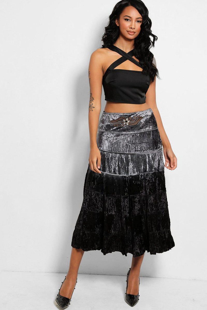 Grey Black Ombre Embroidered Detail Tiered Maxi Skirt - SinglePrice