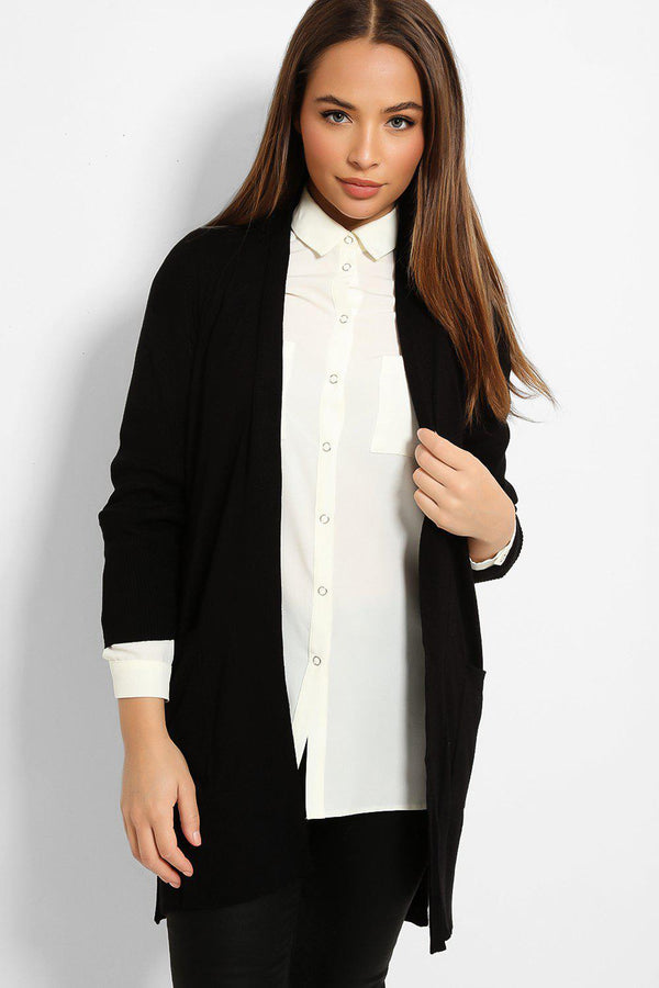 Black Ribbed Trims Lightweight Knit Cardigan