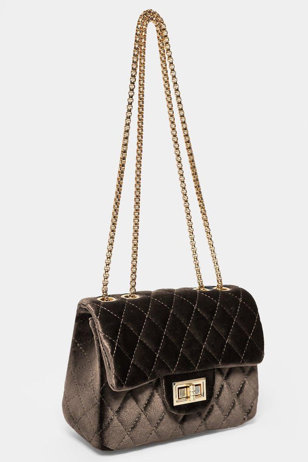 Khaki Quilted Velour Gold Chain Handbag-SinglePrice