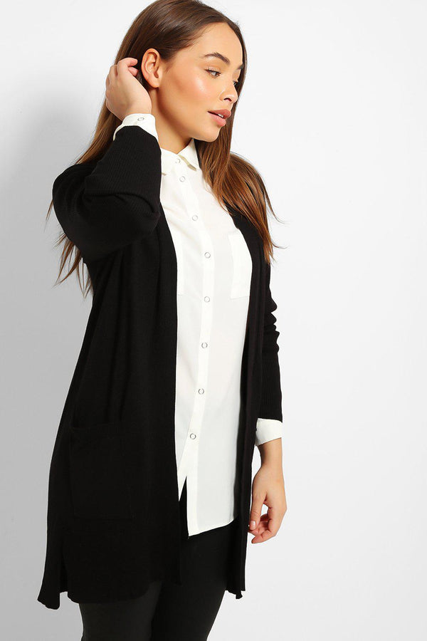 Black Ribbed Trims Lightweight Knit Cardigan-SinglePrice
