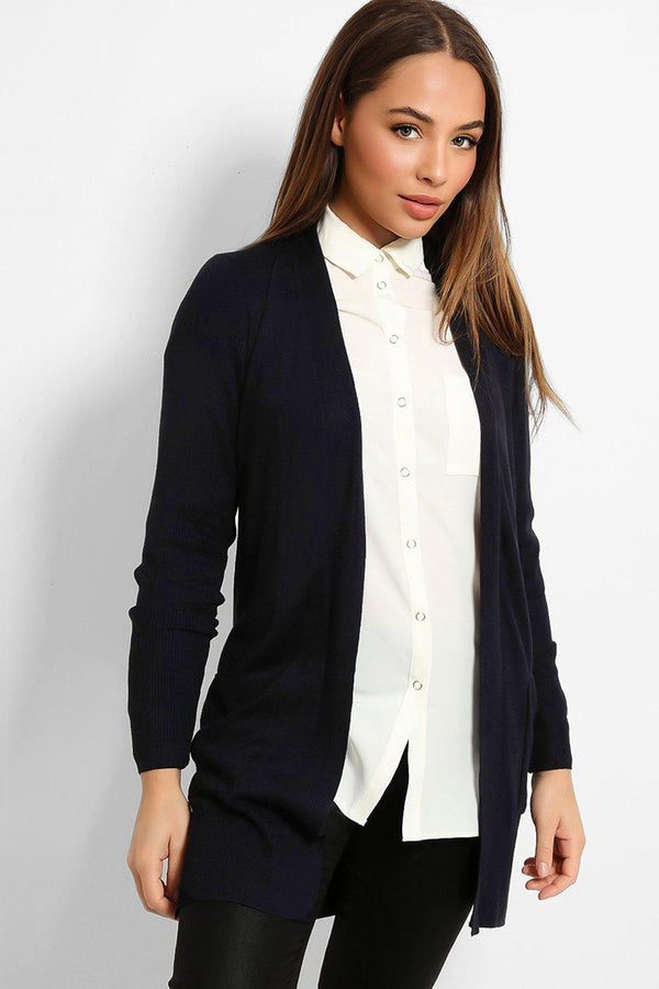 Dark Navy Ribbed Trims Lightweight Knit Cardigan-SinglePrice