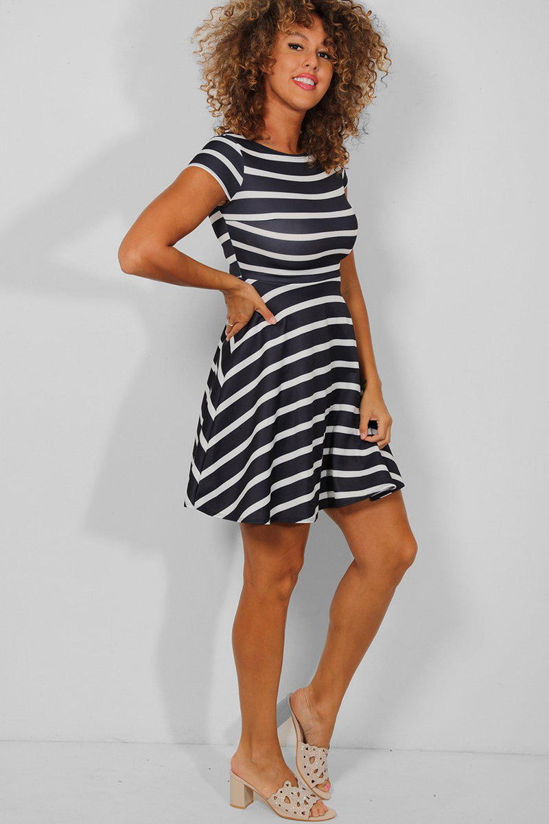Navy White Stripe Mini Skater Dress - SinglePrice
