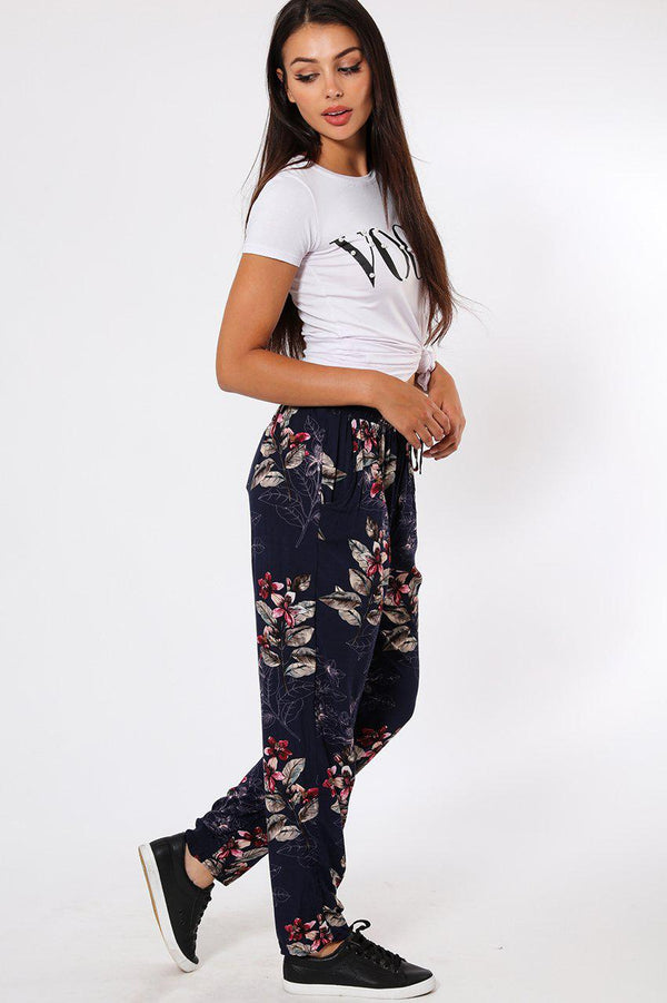 Pink Flowers Print Navy Leisure Trousers-SinglePrice
