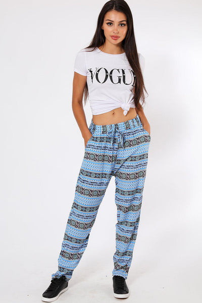 Blue Vertical Stripes Boho Print Leisure Trousers-SinglePrice