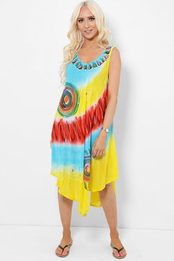 Spiral Embroidery Tie Dye Yellow Blue Dress - SinglePrice