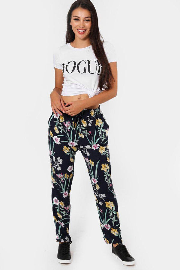 Hibiscus Print Navy Leisure Trousers