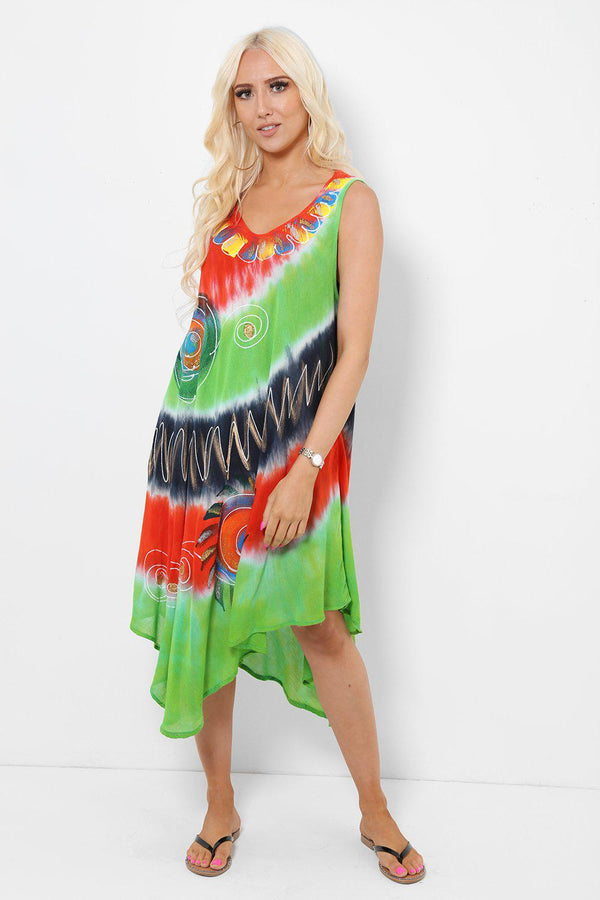 Spiral Embroidery Tie Dye Green Red Dress - SinglePrice