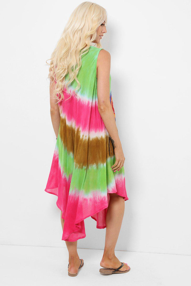 Spiral Embroidery Tie Dye Pink Green Dress - SinglePrice