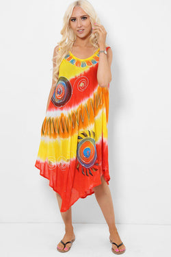 Spiral Embroidery Tie Dye Red Yellow Dress - SinglePrice