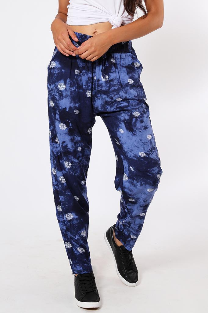 Navy Floral Cloudy Print Leisure Trousers-SinglePrice