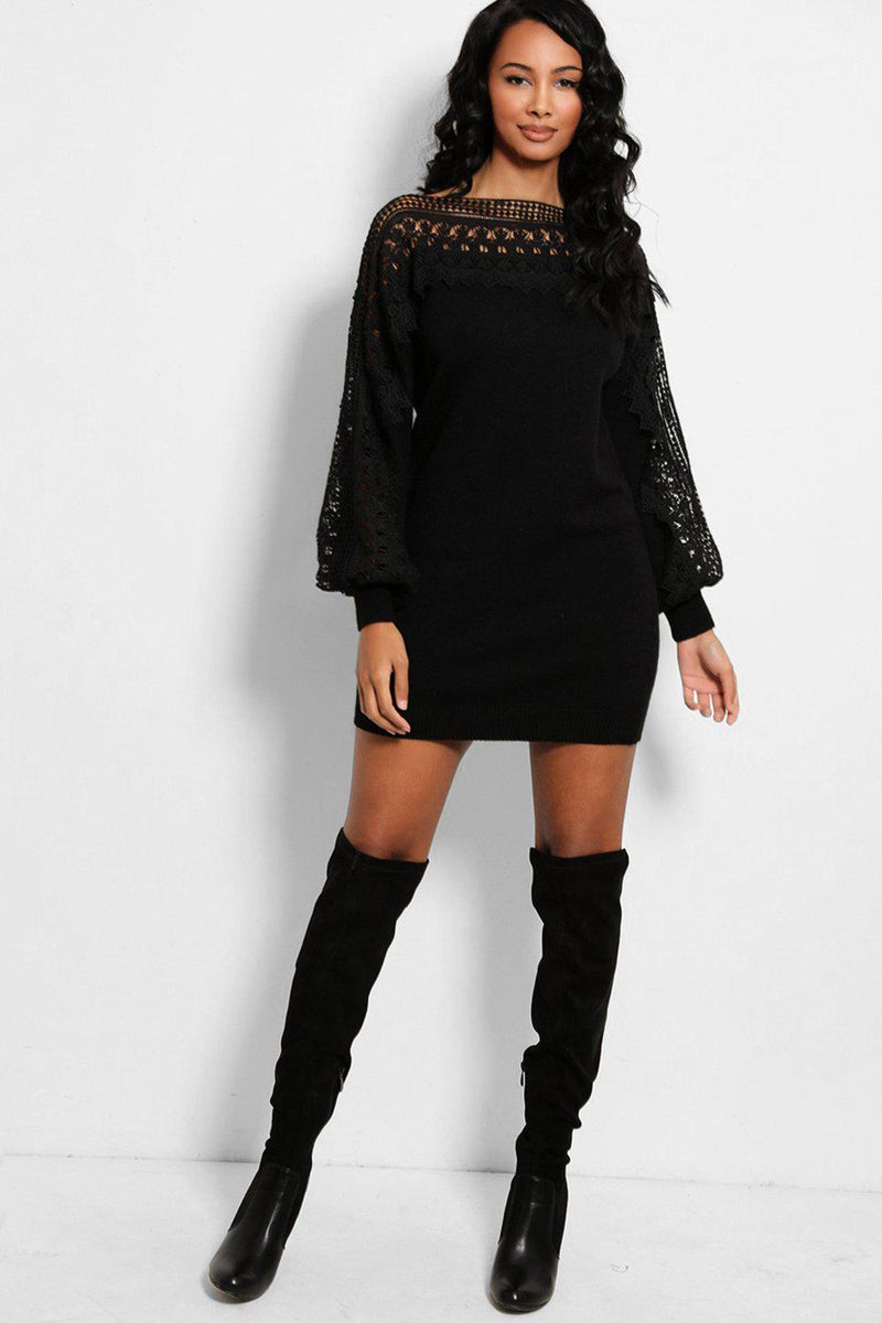 Black Crochet Lace Panel Soft Knit Jumper Dress - SinglePrice