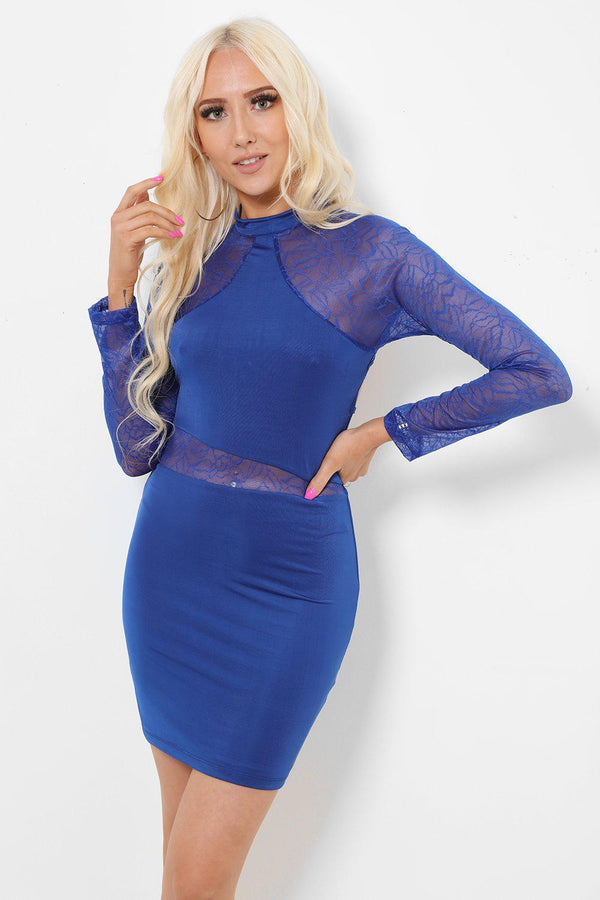 Lace Panels Open Back Blue Dress-SinglePrice