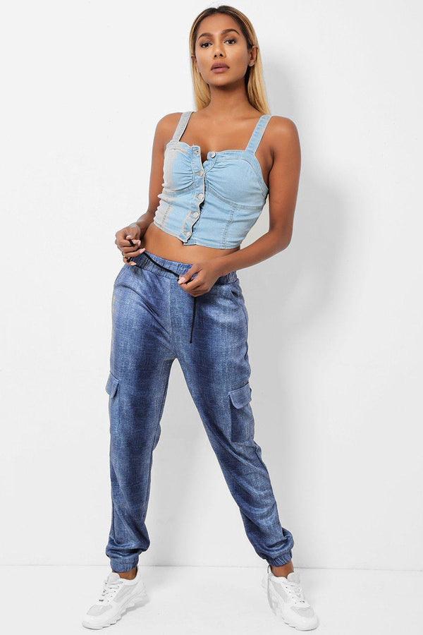 Blue Denim Print Side Pocket Bottoms-SinglePrice