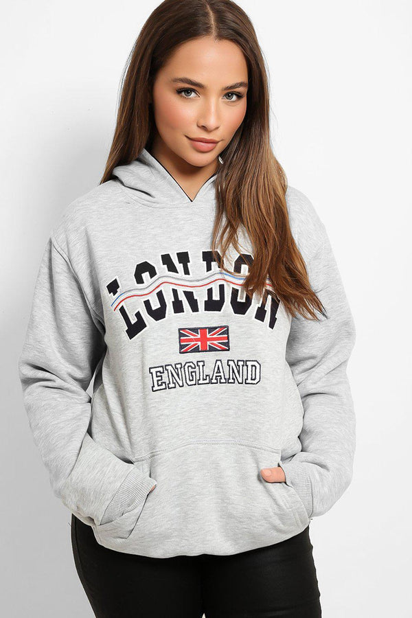 Grey London Slogan Hooded Sweatshirt-SinglePrice