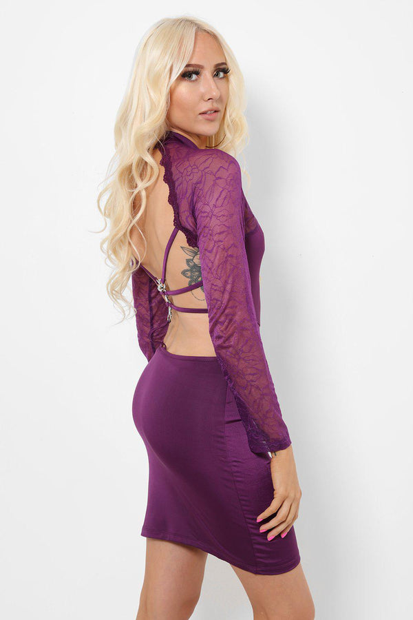 Lace Panels Open Back Purple Dress-SinglePrice