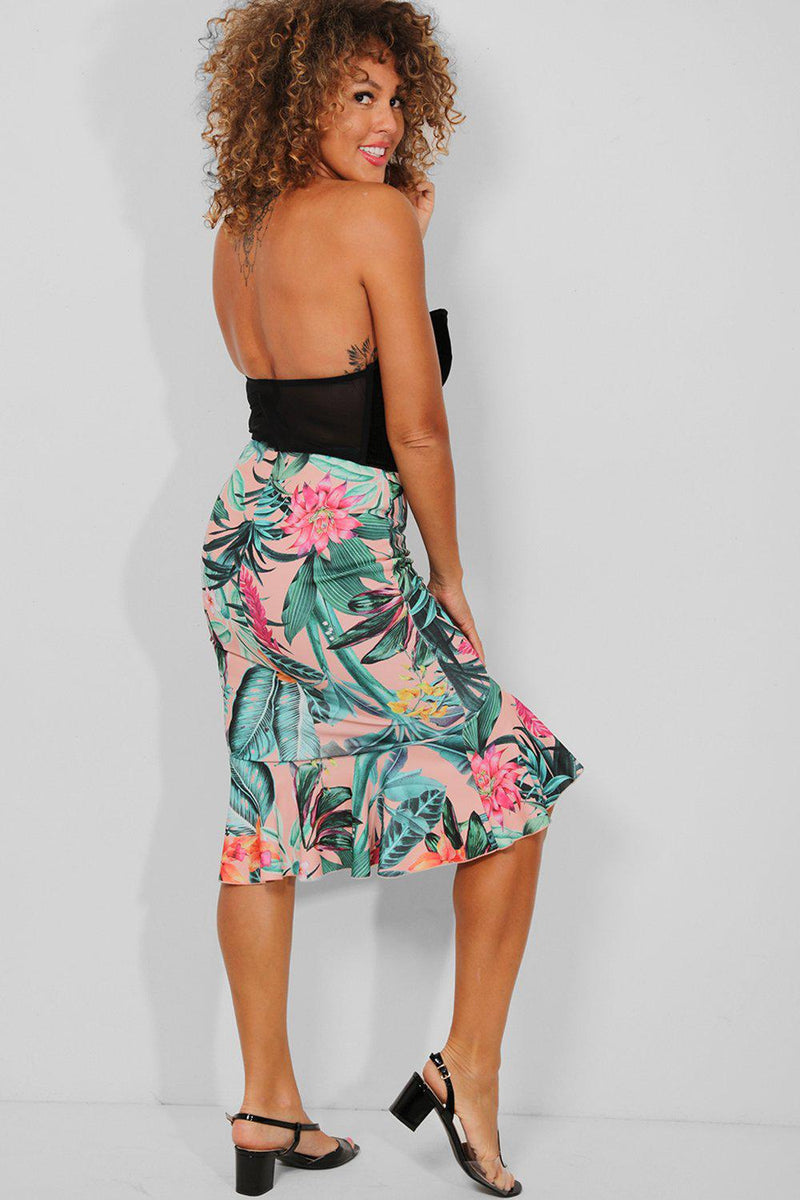 Tropic Floral Print Pink Frill Trims Midi Skirt - SinglePrice