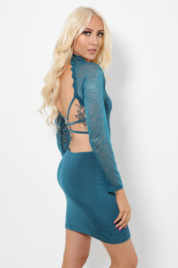 Lace Panels Open Back Green Dress-SinglePrice