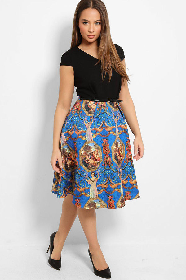 Black Belted Jacquard Skirt Two Tones Skater Dress-SinglePrice