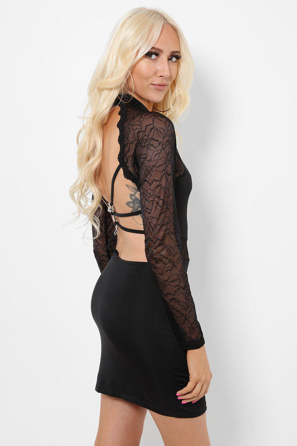 Lace Panels Open Back Black Dress-SinglePrice