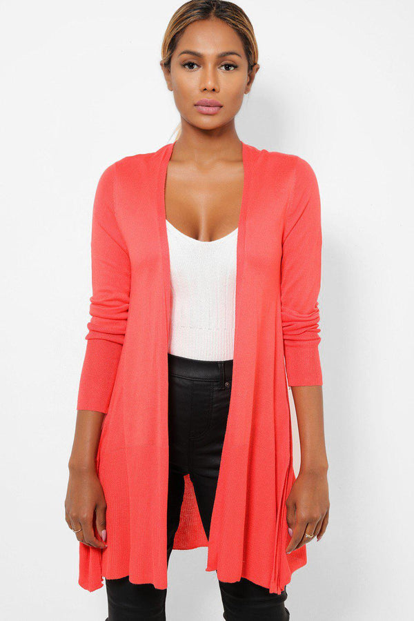 Coral Open Front Side Splits Lightweight Cardigan - SinglePrice