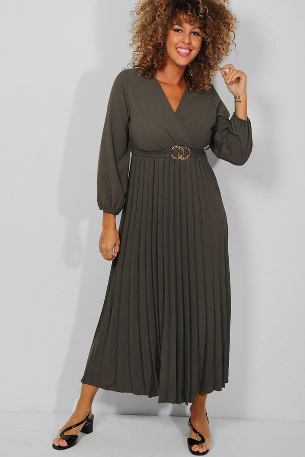 Khaki Belt Detail Wrap Neck Pleated Maxi Dress - SinglePrice