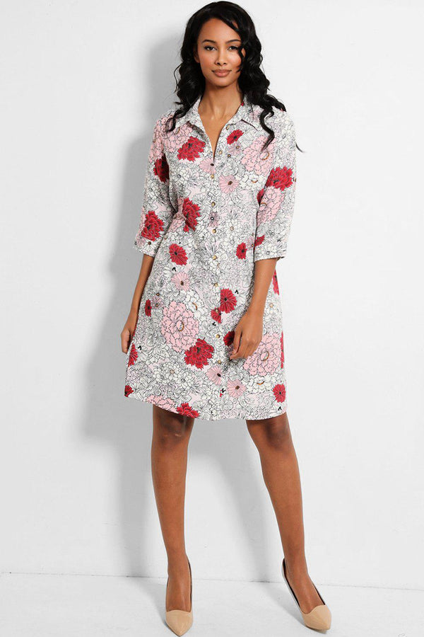 White Pink Red Floral Print Shirt Dress - SinglePrice