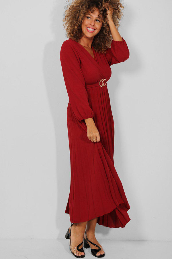 Wine Belt Detail Wrap Neck Pleated Maxi Dress - SinglePrice