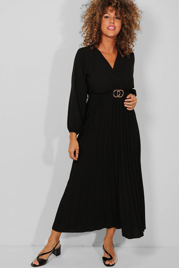 Black Belt Detail Wrap Neck Pleated Maxi Dress - SinglePrice