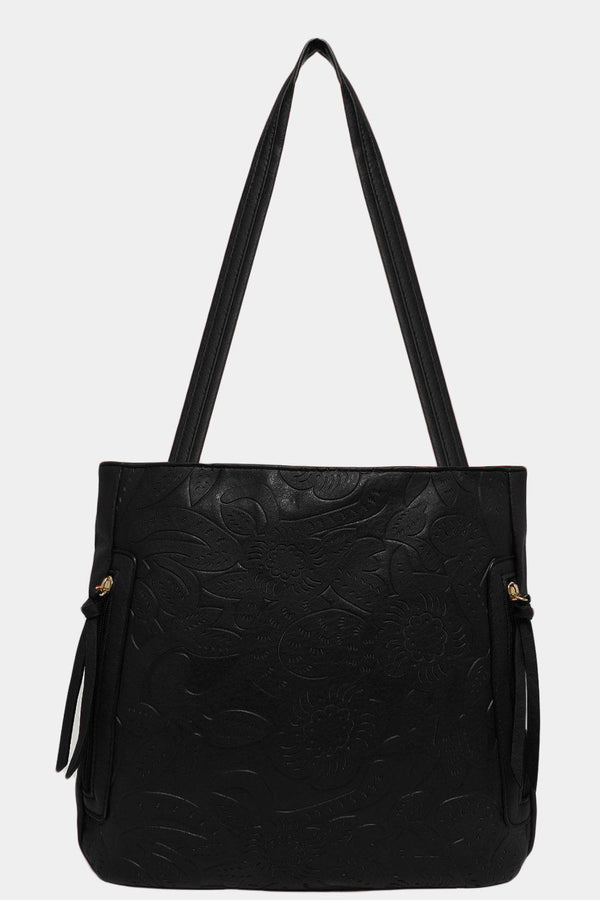 Black Floral Imprint Side Zips Handbag