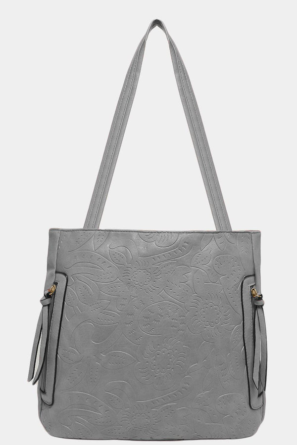 Grey Floral Imprint Side Zips Handbag - SinglePrice