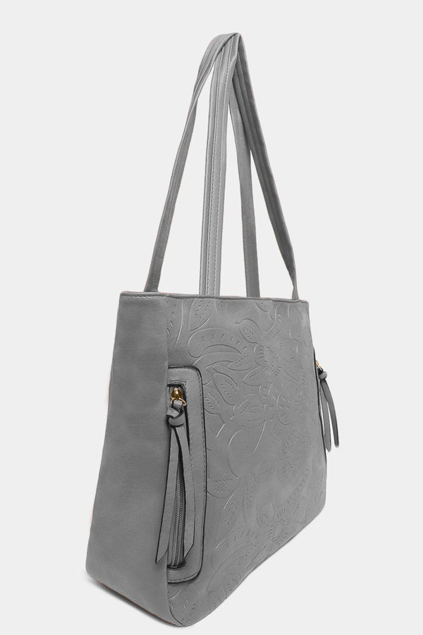 Grey Floral Imprint Side Zips Handbag