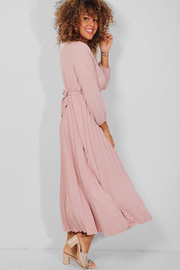 Pink Belt Detail Wrap Neck Pleated Maxi Dress - SinglePrice
