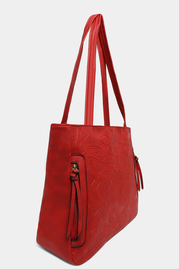 Red Floral Imprint Side Zips Handbag
