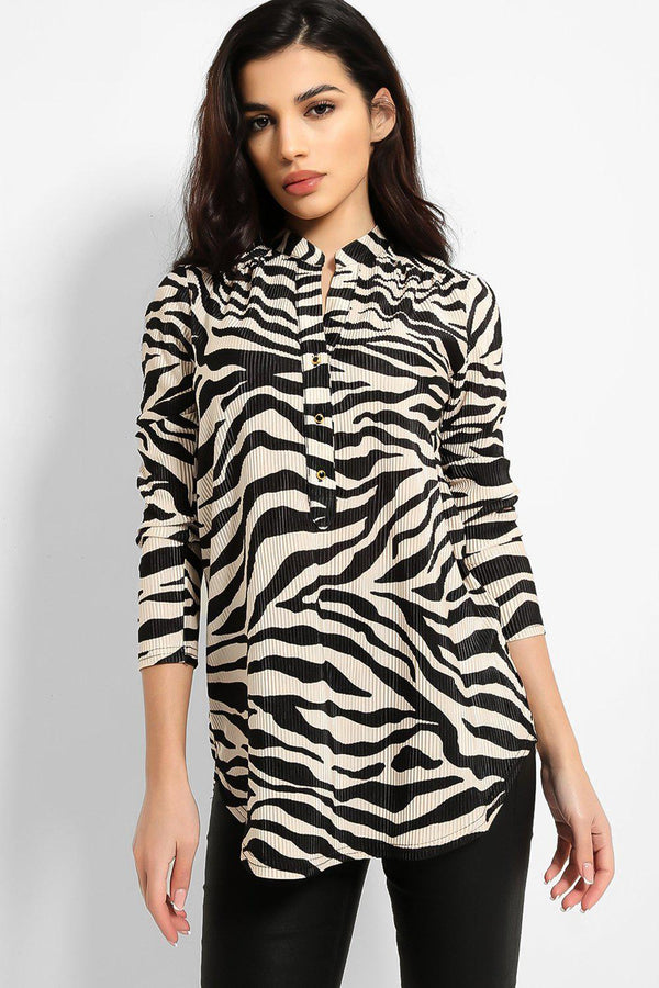 Beige Black Zebra Print Pleated Grandad Collar Shirt - SinglePrice