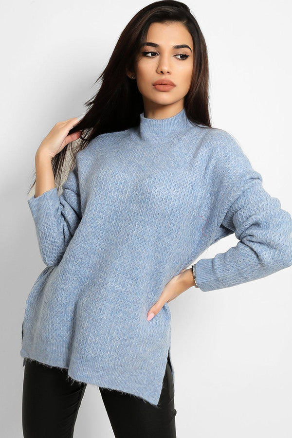 Blue High Neck Side Splits Bee Stitch Knit Pull