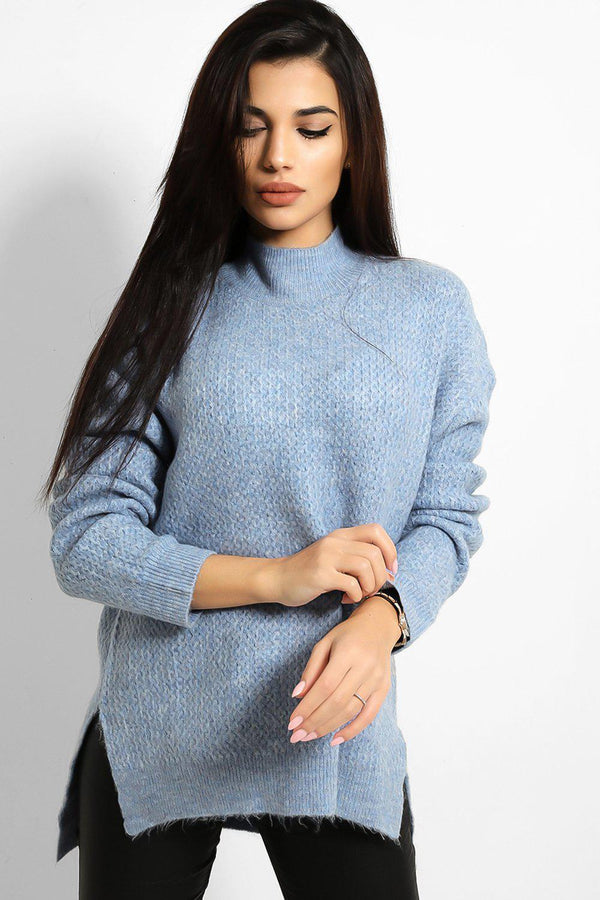 Blue High Neck Side Splits Bee Stitch Knit Pull - SinglePrice