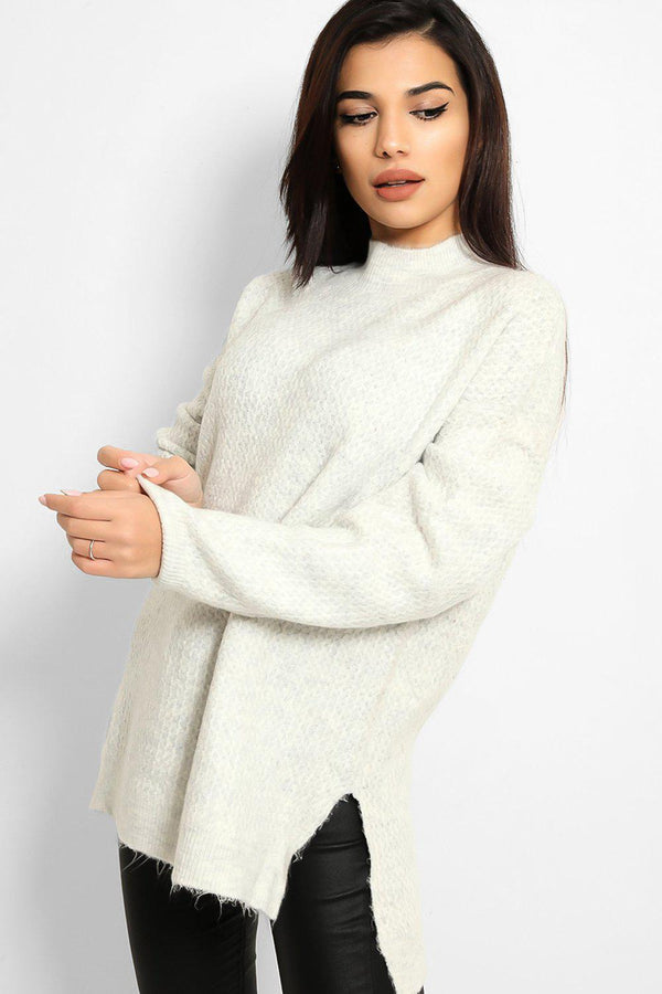 White High Neck Side Splits Bee Stitch Knit Pull
