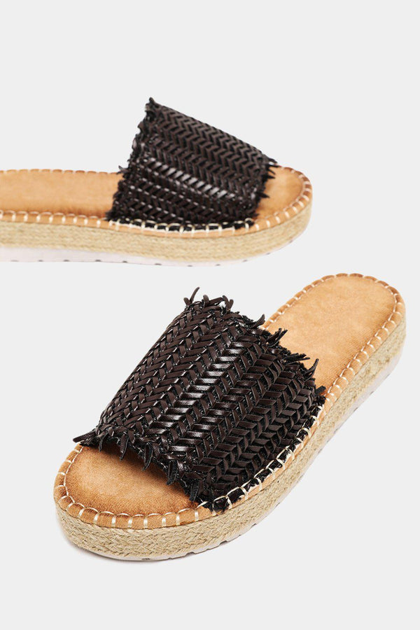 Coffee Wove Strap Espadrille Sole Sliders - SinglePrice