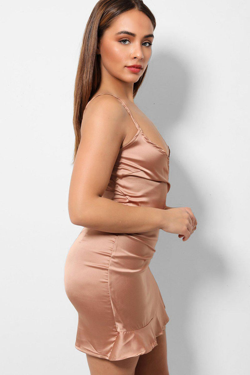 Bronze Satin Frill Hem Wrapover Front Cami Mini Dress-SinglePrice