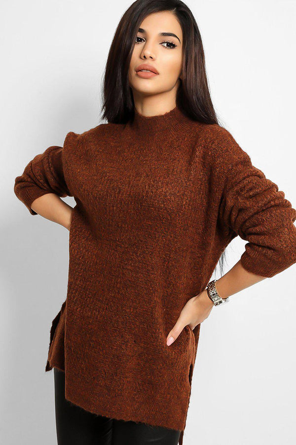Brown High Neck Side Splits Bee Stitch Knit Pull - SinglePrice