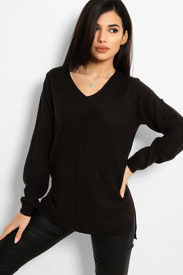 Black Front Seam V-Neck Flat Knit Pullover